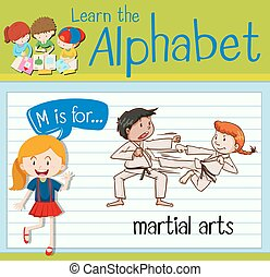 Flashcard letter M is for martial arts illustration