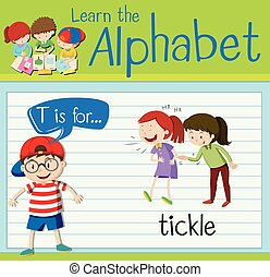Flashcard letter T is for tickle illustration