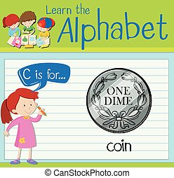 Flashcard letter C is for coin illustration