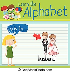 Flashcard alphabet H is for husband