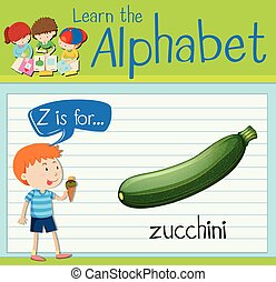 Flashcard letter Z is for zucchini illustration