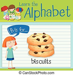 Flashcard alphabet B is for biscuits