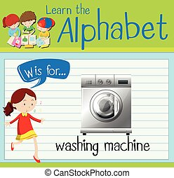 Flashcard letter W is for washing machine