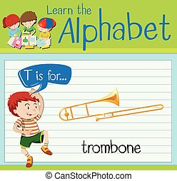 Flashcard letter T is for trombone illustration