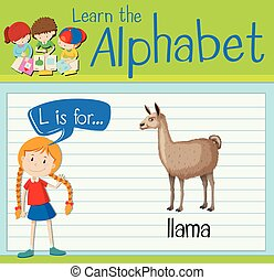 Flashcard letter L is for llama illustration
