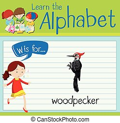 Flashcard alphabet W is for woodpecker illustration