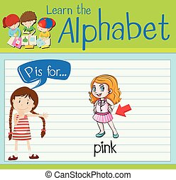Flashcard alphabet P is for pink