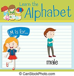 Flashcard letter M is for male illustration