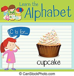 Flashcard letter C is for cupcake