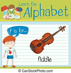 Flashcard letter F is for fiddle illustration