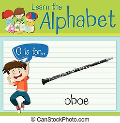 Flashcard letter O is for oboe illustration