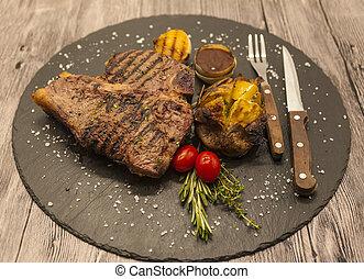 garfo, pedra, médio, Raro, fundo, carne, madeira, batatas,...