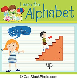 Flashcard letter U is for up illustration