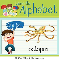 Flashcard letter O is for octopus