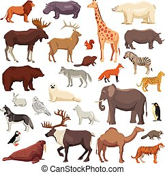 Animals Big Set - Big flat set of wild animals and birds...