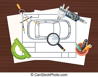 Production Line Element Poster - Top view poster of car...