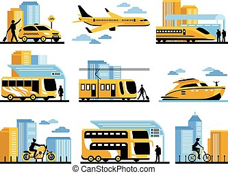 Traveling People Isolated Decorative Icons Set - Traveling...