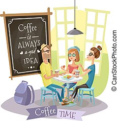 Coffee Time Design Concept With Hipsters - Coffee time...