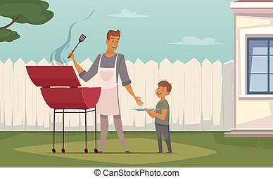 Picnic Barbecue Father Son Cartoon Poster - Summer weekend...