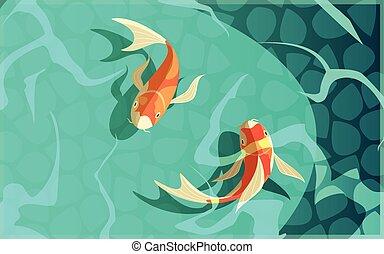 Koi Carp Japanese Culture Cartoon Illustration
