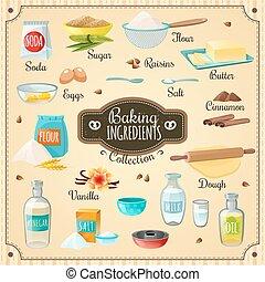 Baking Ingredients Set - Cooking icons various baking...