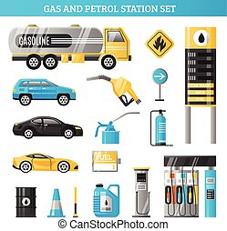 Gas And Petrol Station Set - Gas and petrol station...