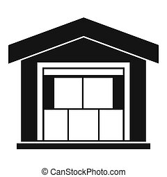 Warehouse building icon, simple style - icon. Simple...