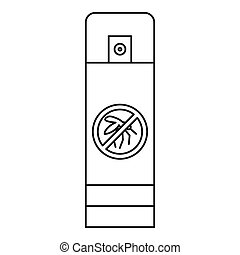 Mosquito spray bottle icon, outline style - icon. Outline...