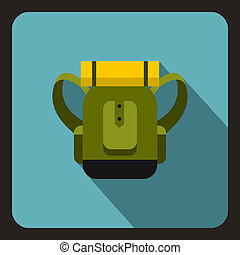 Green tourist backpack icon, flat style - icon. Flat...