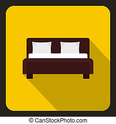 Brown double bed icon, flat style - icon. Flat illustration...