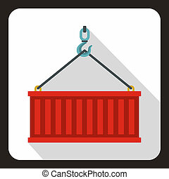 Crane hook lifts red container icon, flat style - icon. Flat...