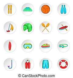 Water sport icons, cartoon style - Water sport icons set....