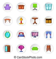 Furniture icons, cartoon style - Furniture icons set....