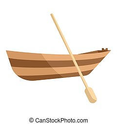 Wooden boat with paddle icon, cartoon style - icon. Cartoon...