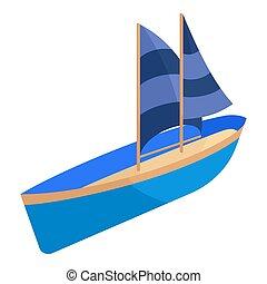 Yacht icon, cartoon style - icon. Cartoon illustration of...