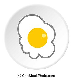 Scrambled eggs icon, flat style - Scrambled eggs icon. Flat...