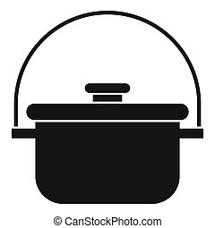 Cooking cauldron icon, simple style - icon. Simple...