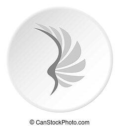 gris,  Style, plat, aile, icône, Oiseaux