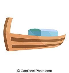 Wooden boat icon, cartoon style - icon. Cartoon illustration...
