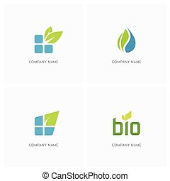 Eco and nature logo - Eco and nature vector logo. Bricks or...