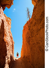 Hiking in Bryce Canyon - A woman is hiking through Bruce...
