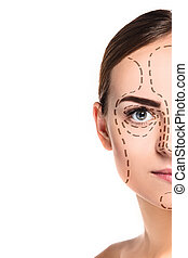 The beautiful woman face with arrows close up over white background