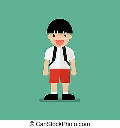 Cute cartoon boy. Flat style design