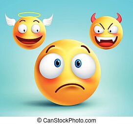 Funny smiley vector character thinking choice between good...