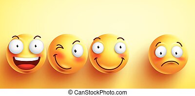 Funny smileys vector faces with happy smile with separated...
