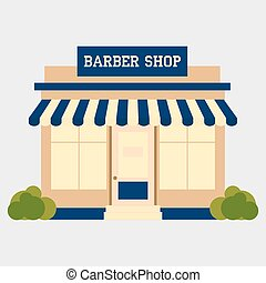 Barbershop street building facade small shop front shopping...