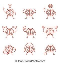 Brain power set training vector illustration. Powerful...