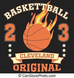 Cleveland Ohio sport typography t-shirt basketball burning...