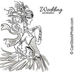 Wedding invitation with bride - Vector wedding invitation...