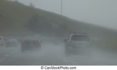 heavy rain on a freeway - downpour on a Northern California...